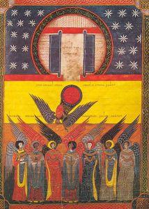 The Seven angels empty the vials, Beato de Liébana, Commentarium in Apocalipsin, (codex of Fernando I and Doña Sancha), Biblioteca Nacional de España VITR./14/2/, f. 213r
