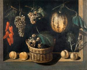 Maestro de Stirling-Maxwell, Still Life with Basket of Fruits, Pumpkin and Grapes, ca. 1615-1625 (Museu Nacional d'Art de Catalunya)